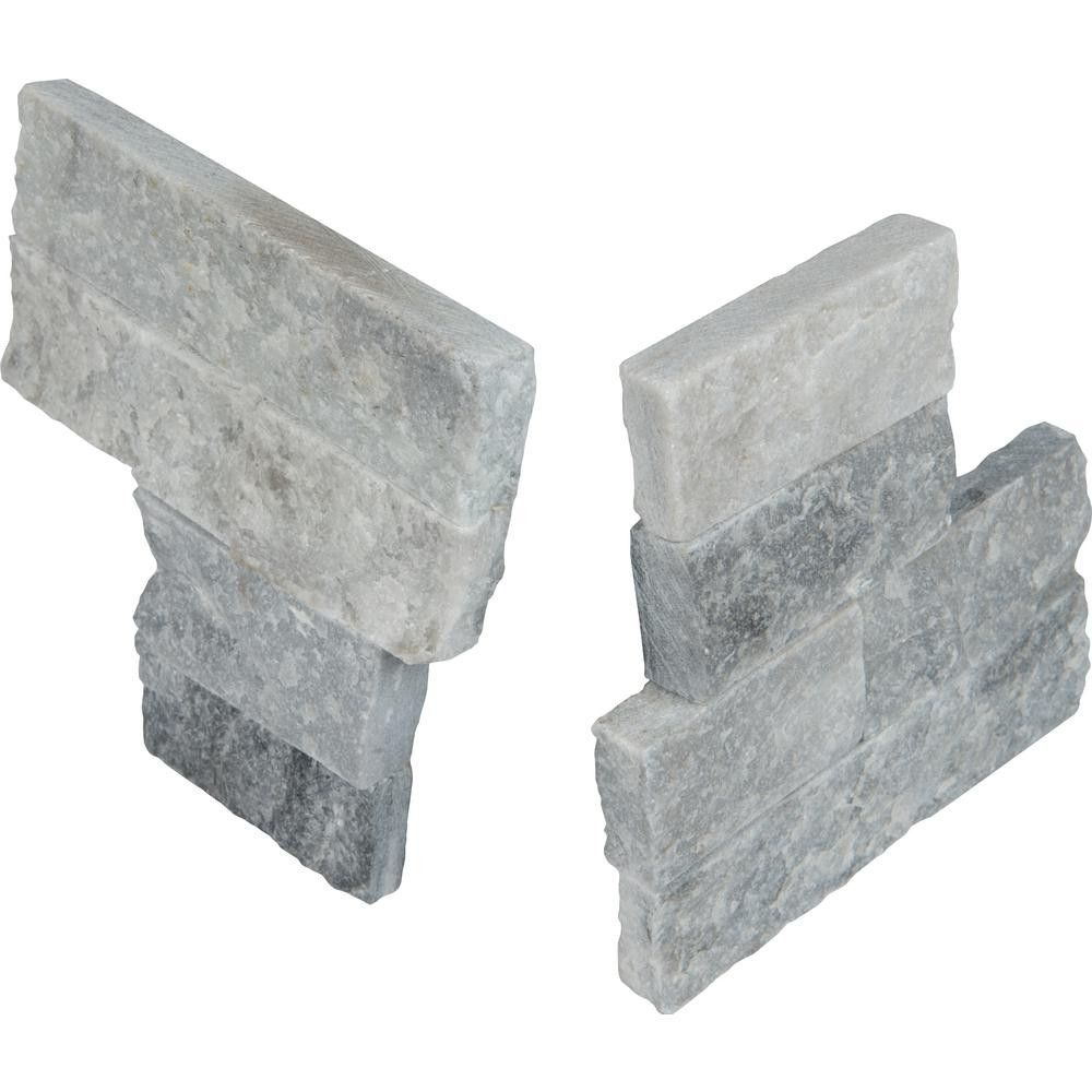 Alaska Gray 4.5X9 Split Face Mini Corner Ledger Panel