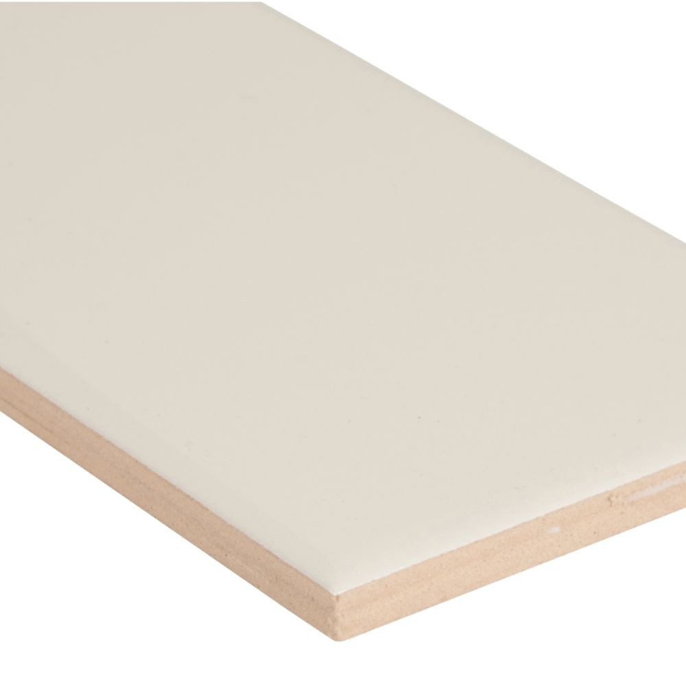 Almond 3X6 Glossy Single Bullnose