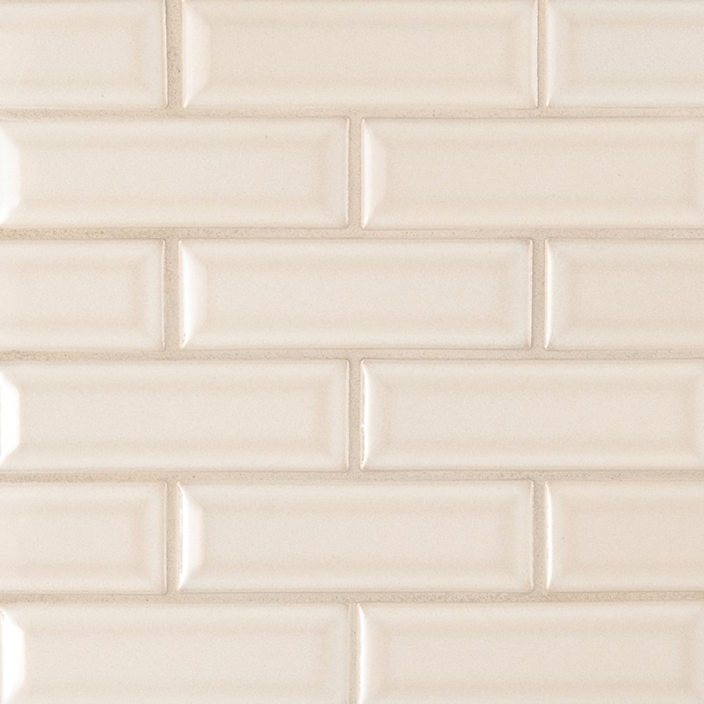 Antique White Glossy 2x6 Bevel Ceramic