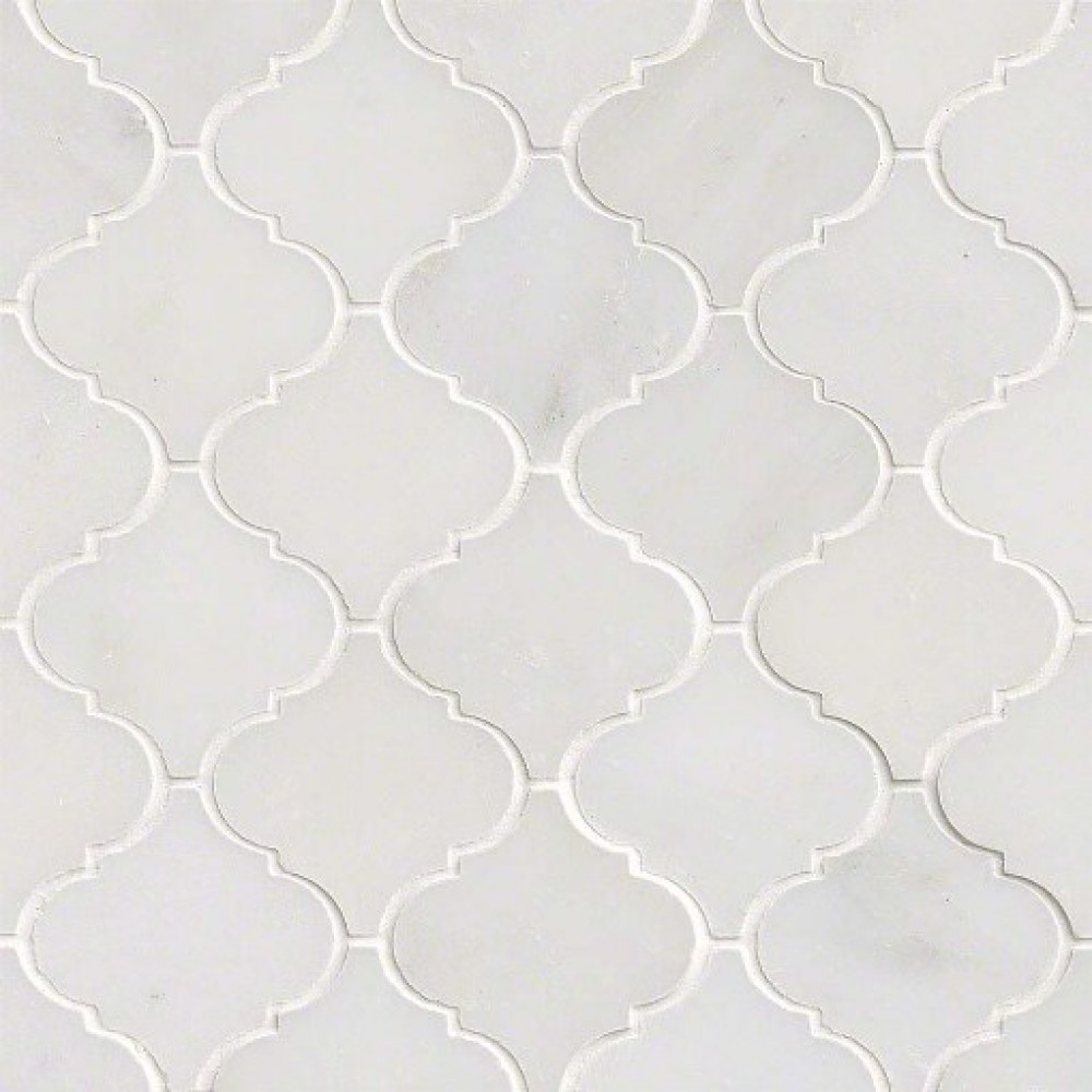Greecian White Arabesque Pattern Polished Mosaic