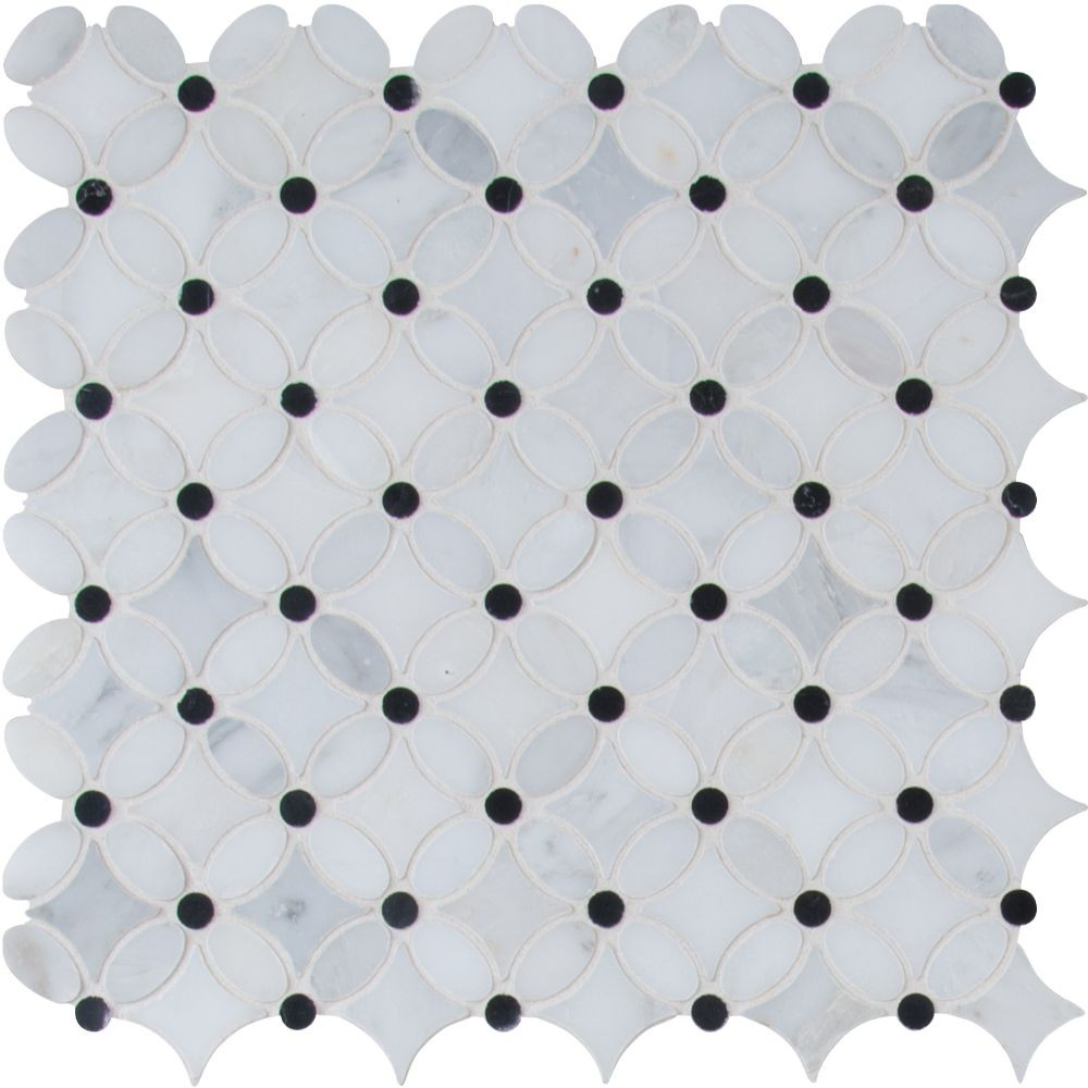 Arabescato Carrara Florita Pattern Polished Marble Mosaic