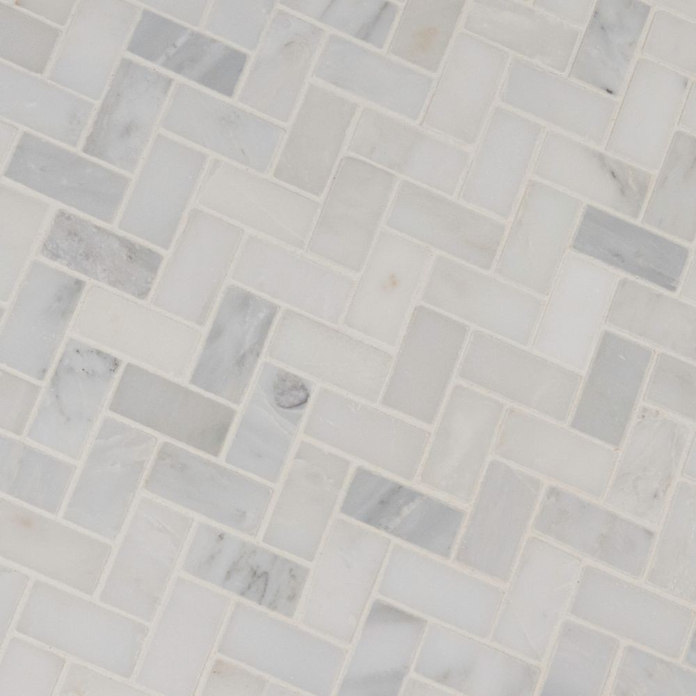 Arabescato Carrara Herringbone Pattern 1x2 Honed