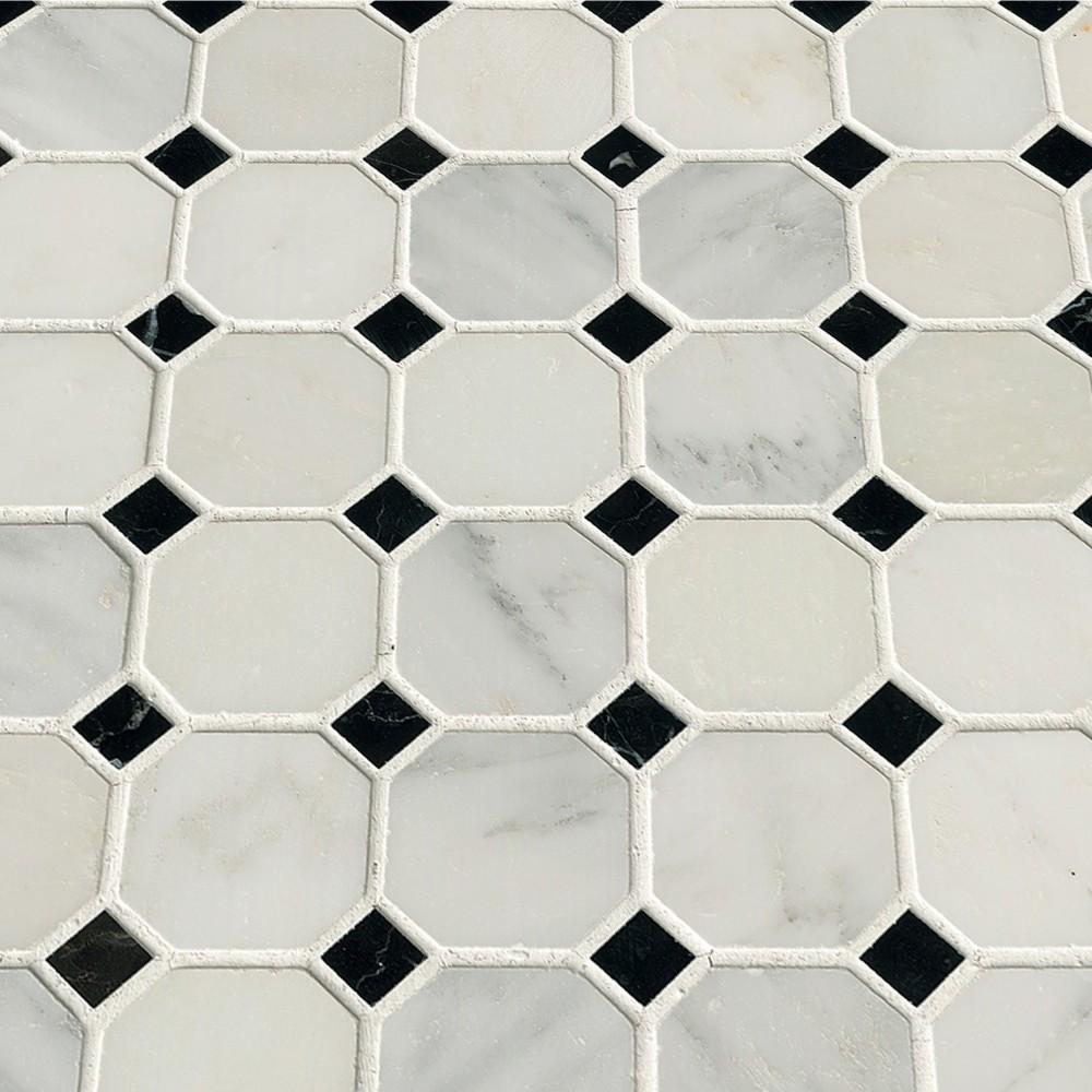 Arabescato Carrara Octagon 2X2 Polished Mosaic Tile
