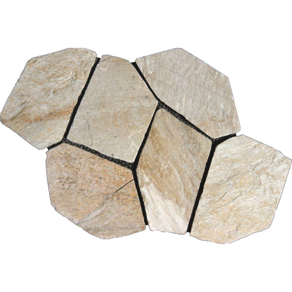 Arctic White Mesh Interlock 2.75 Sft/Pc Natural Slate Flagstone