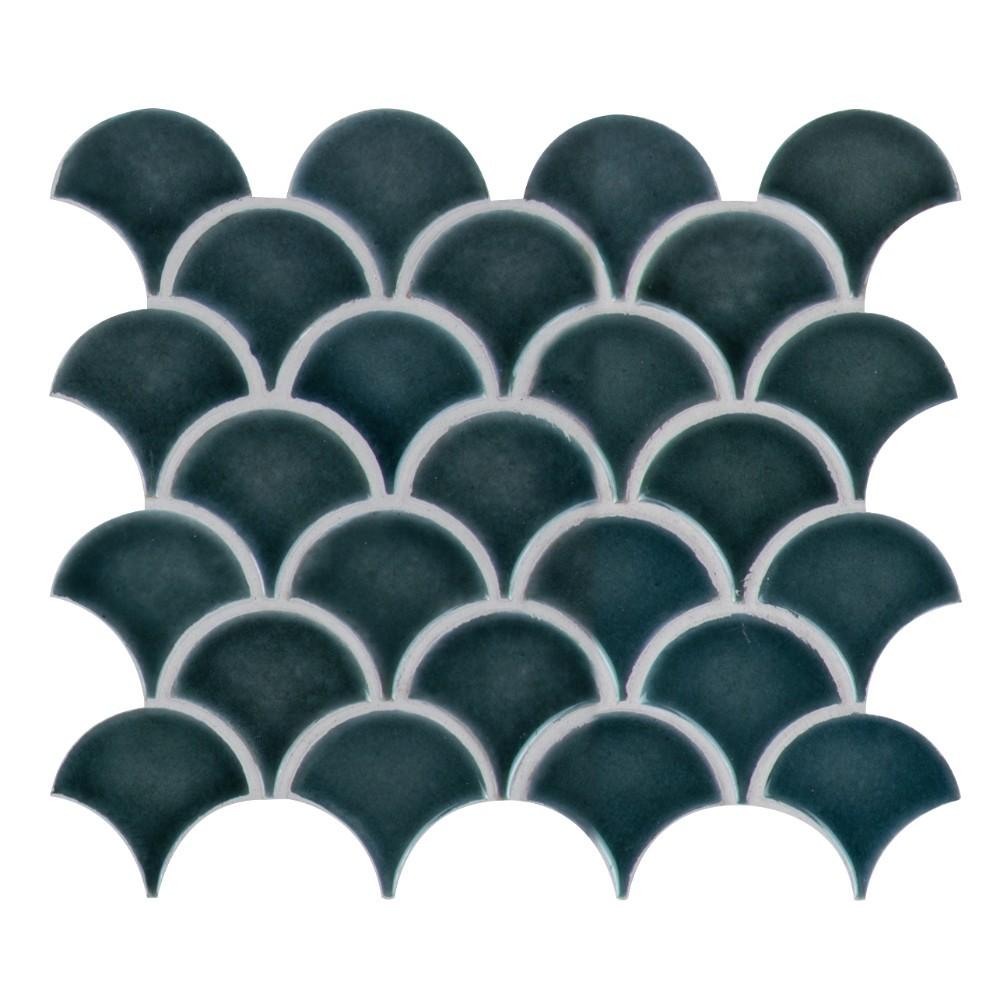 Azul Scallop Glossy Porcelain Mosaic Tile