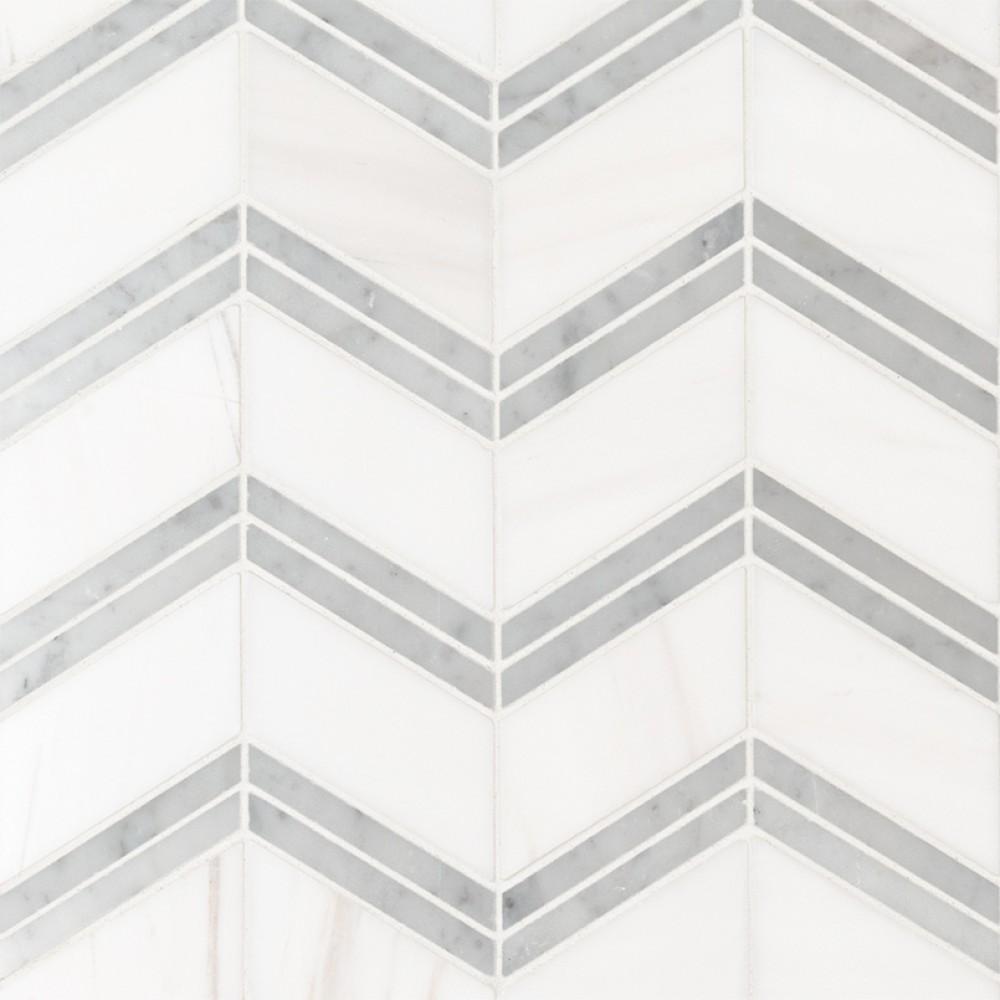 Bianco Dolomite Polished Cheveron Mosaic