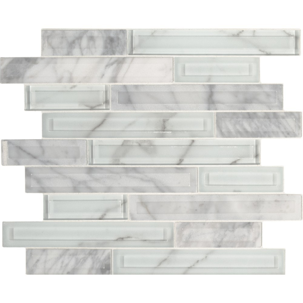 Blocki Blanco Interlocking Pattern Glass Stone Mosaic