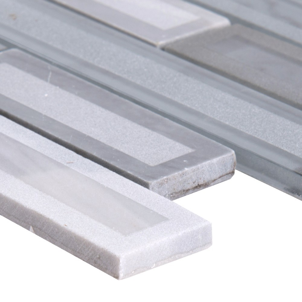 Blocki Grigio Interlocking Pattern Glass Stone Mosaic