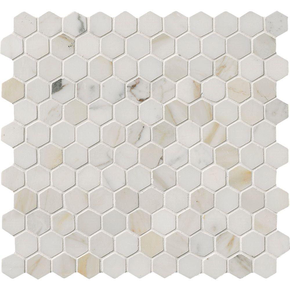 Calacatta Gold Hexagon 1x1 Polished Marble Mosaic