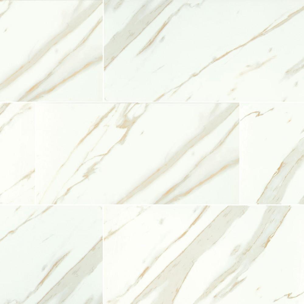 Calacatta White 3X18 Matte Bullnose Porcelain TIle