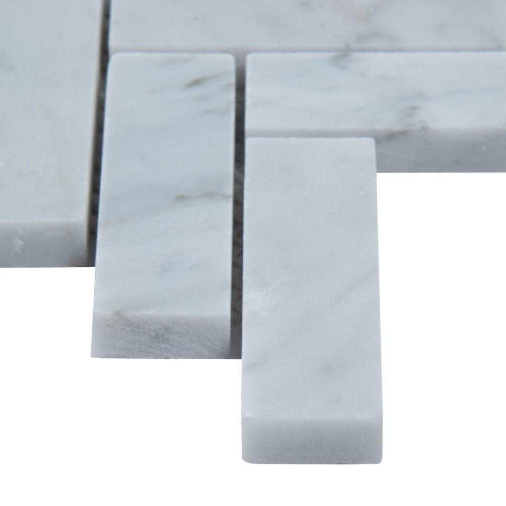 Carrara White 1x3 Herringbone Polished Mosaic