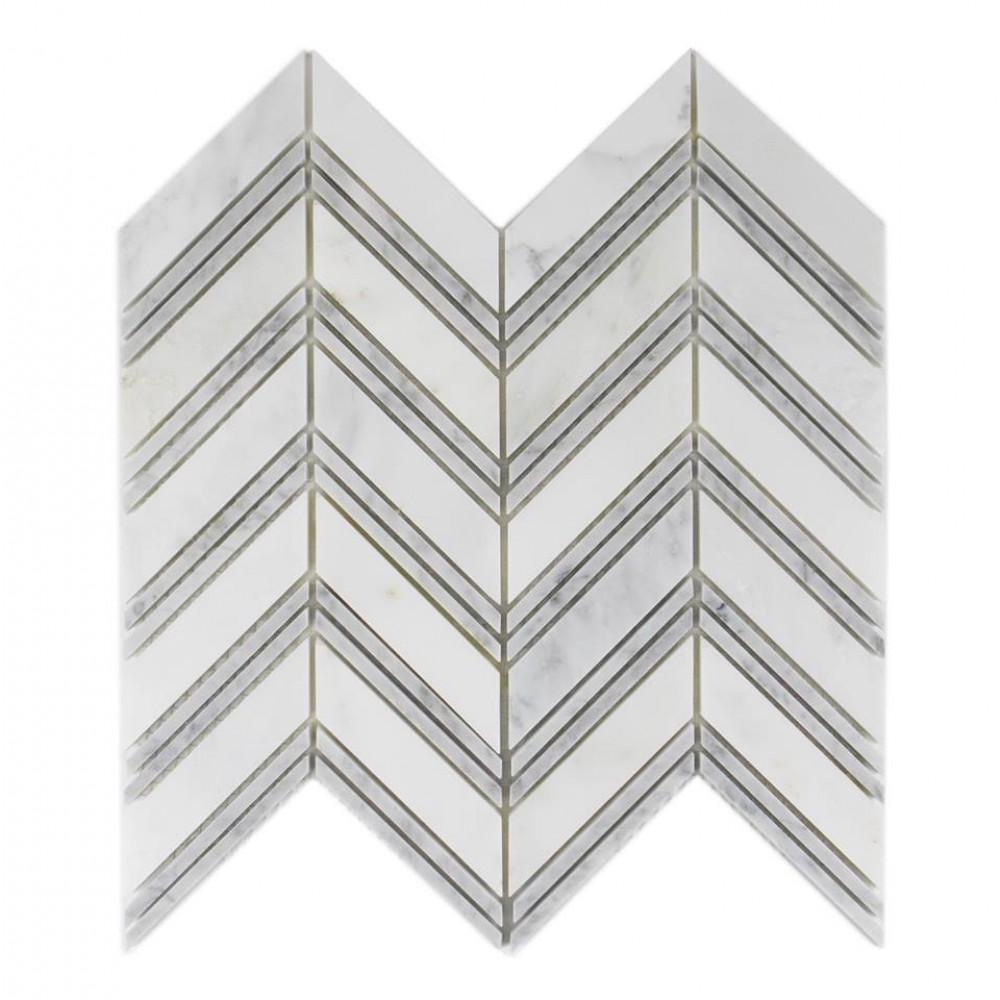 Carrara White Polished 12x12 Chevron Mosaic