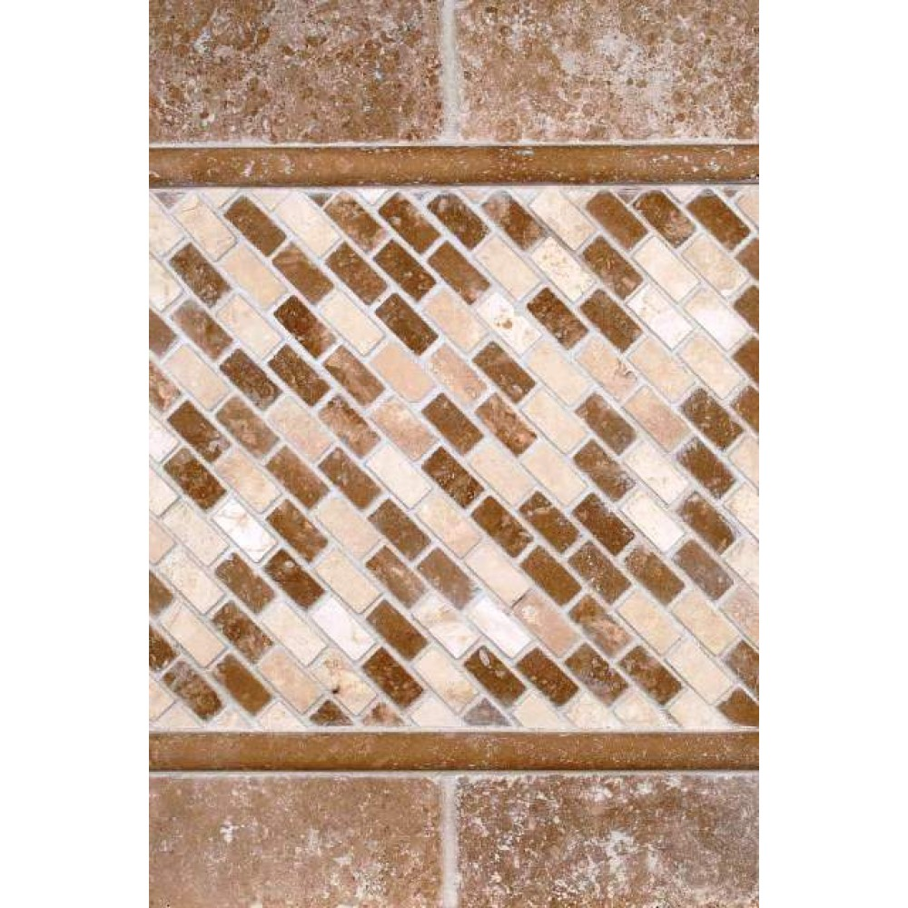 Chiaro Brick 12X12 Tumbled Travertine Mesh-Mounted Mosaic Tile