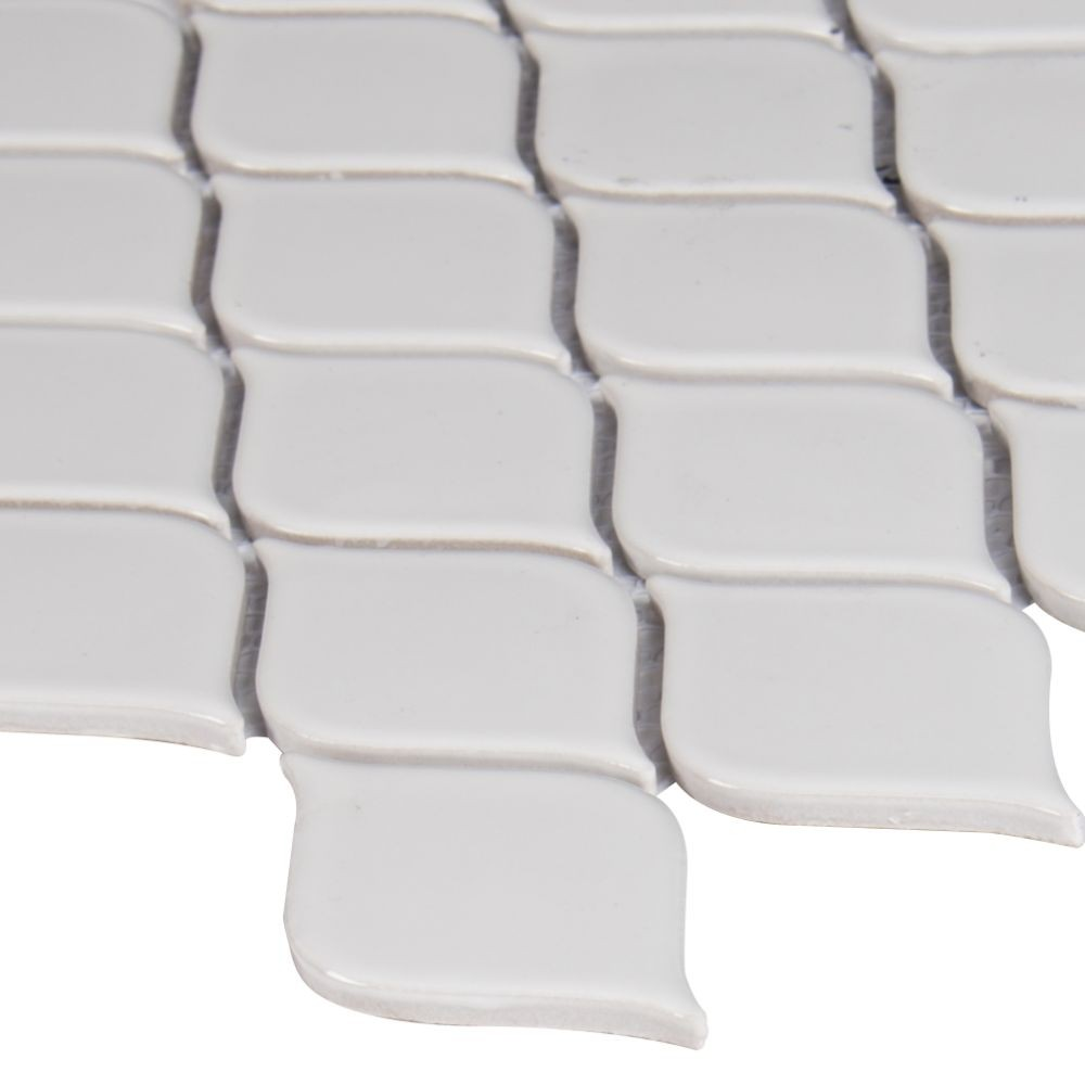 Domino White Tear Drop Glossy Mosaic