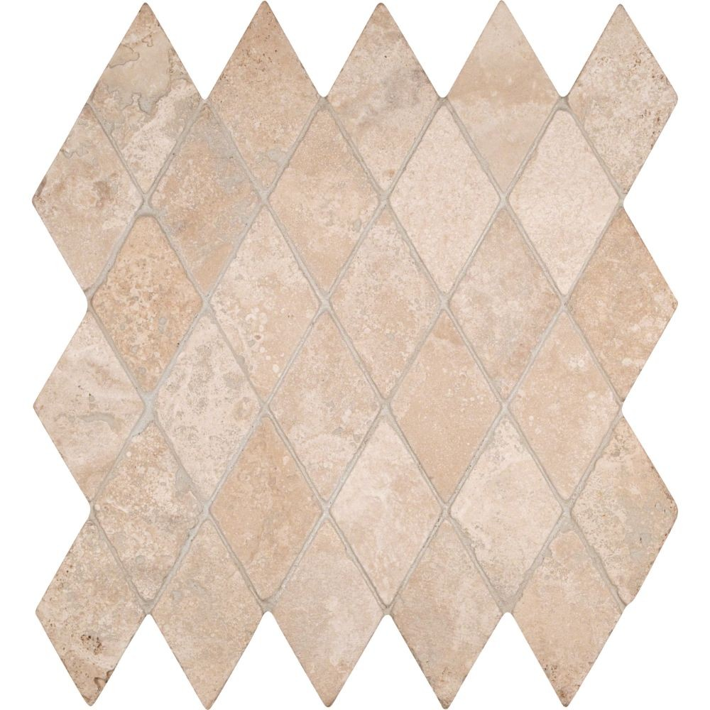 - Durango Cream Rhomboids 2X2 Tumbled Travertine Mosaic - Tilesbay.com