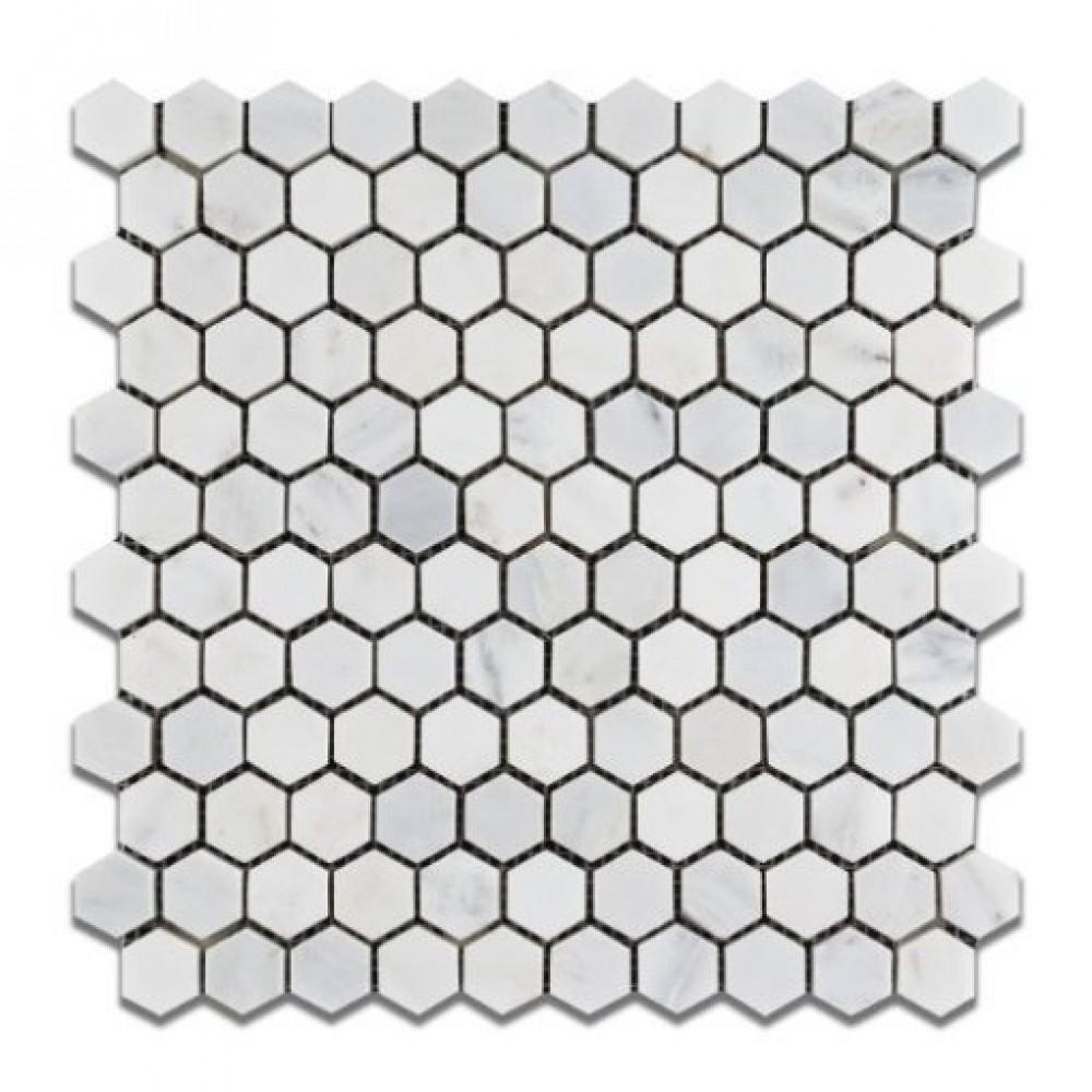 Oriental White 1x1 Hexagon Polished Mosiac