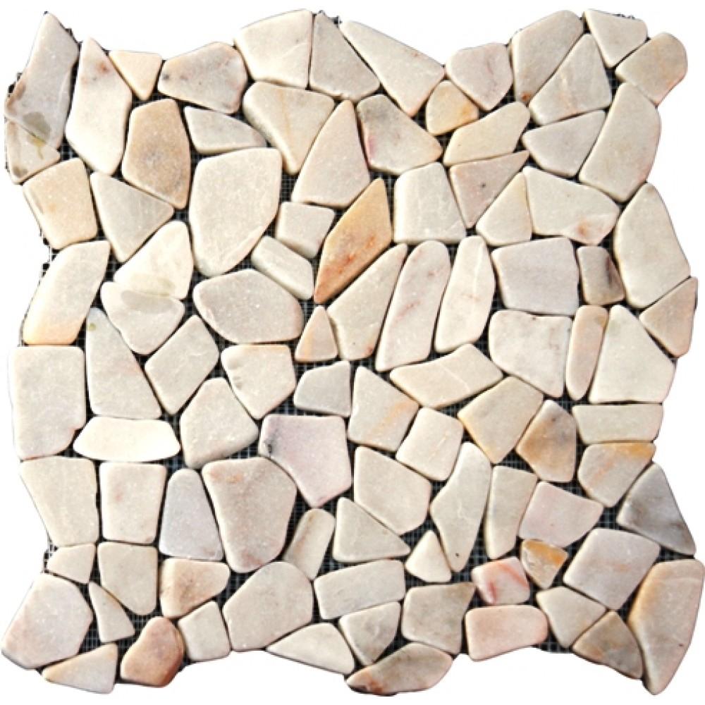 Flat White Pebbles 16X16 Tumbled