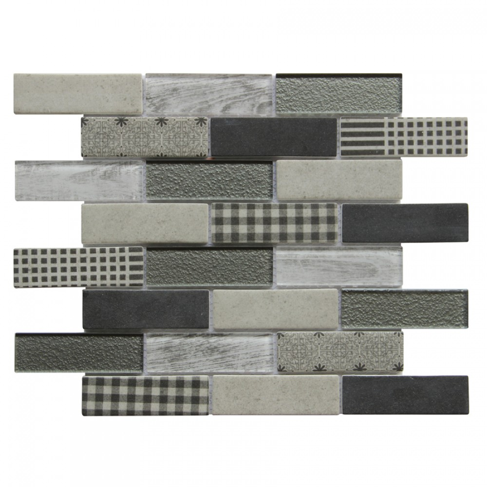 French Gingham 10X12 Brick Pattern Glass Mosaic