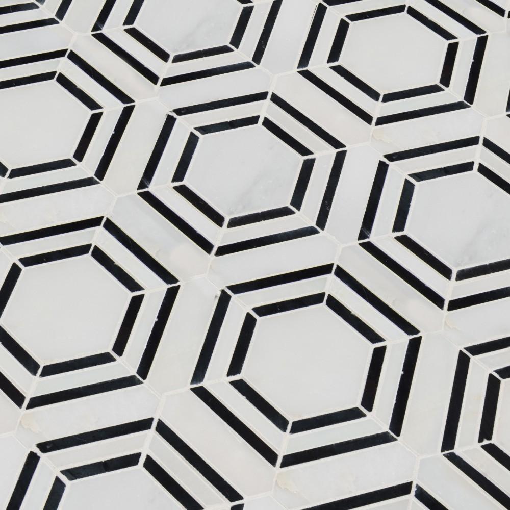 Georama Nero Pattern Polished Marble Mosaic