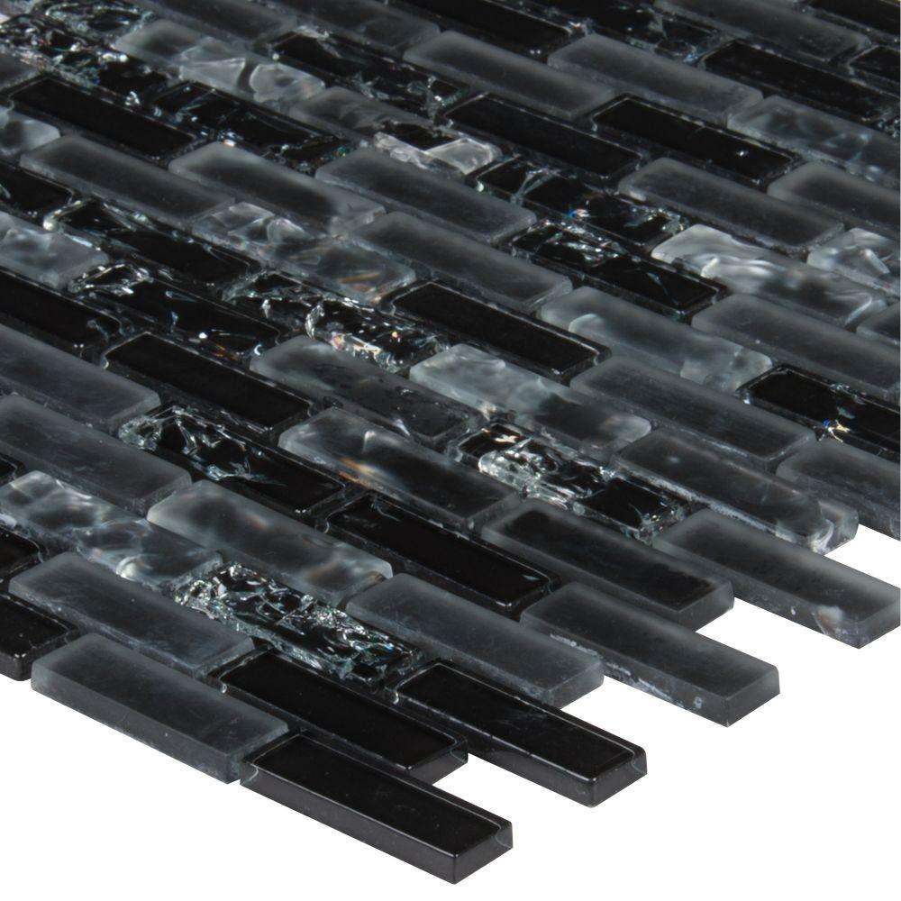 Glissen Black 5/8X5/8 Brick Pattern Glass Mosaic