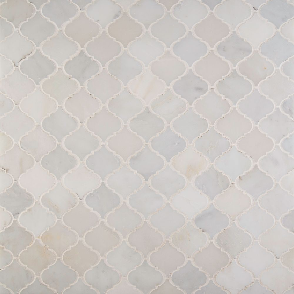 Greecian White Arabesque Pattern Polished Marble Mosaic