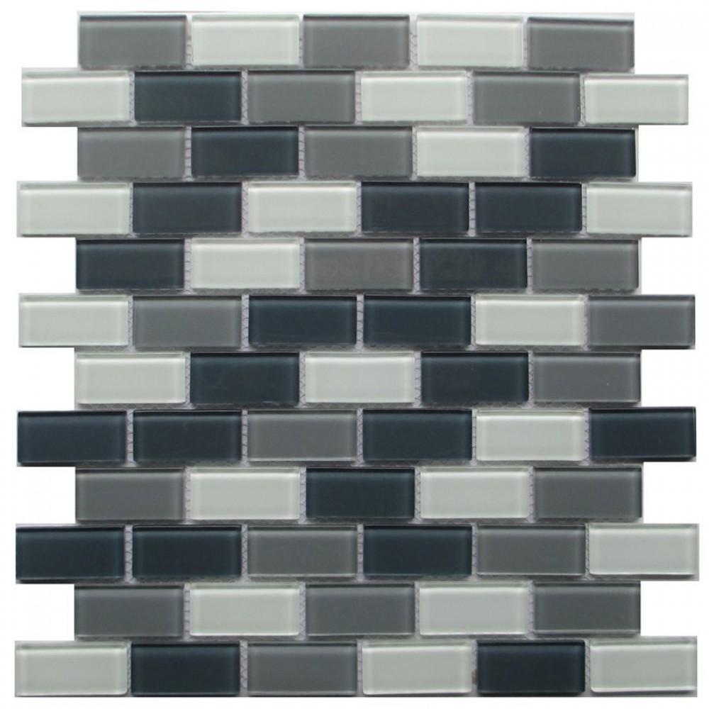 - Grey Blend Brick 1x2 Glass Mosaic, Shop For Glass Tile Backsplash