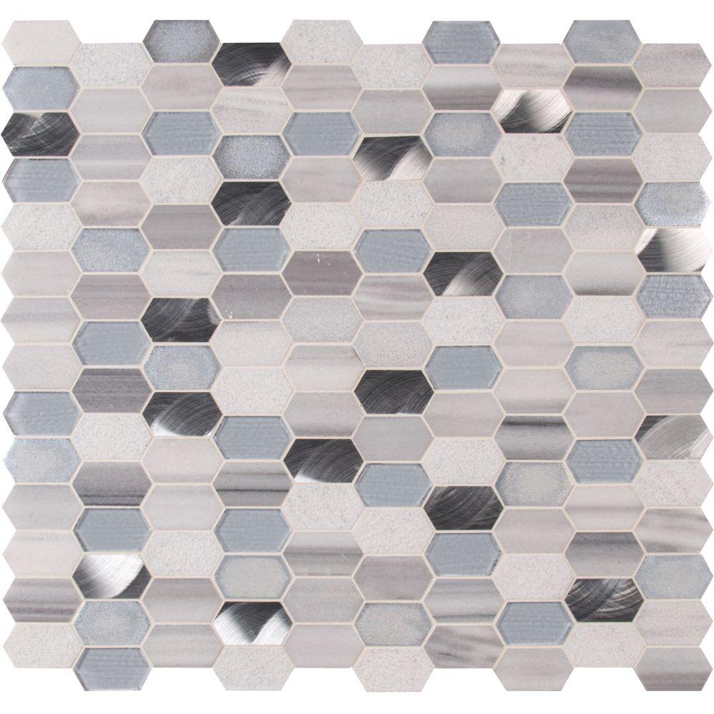 Harlow Picket 12X12 Glass Metal Stone Mosaic