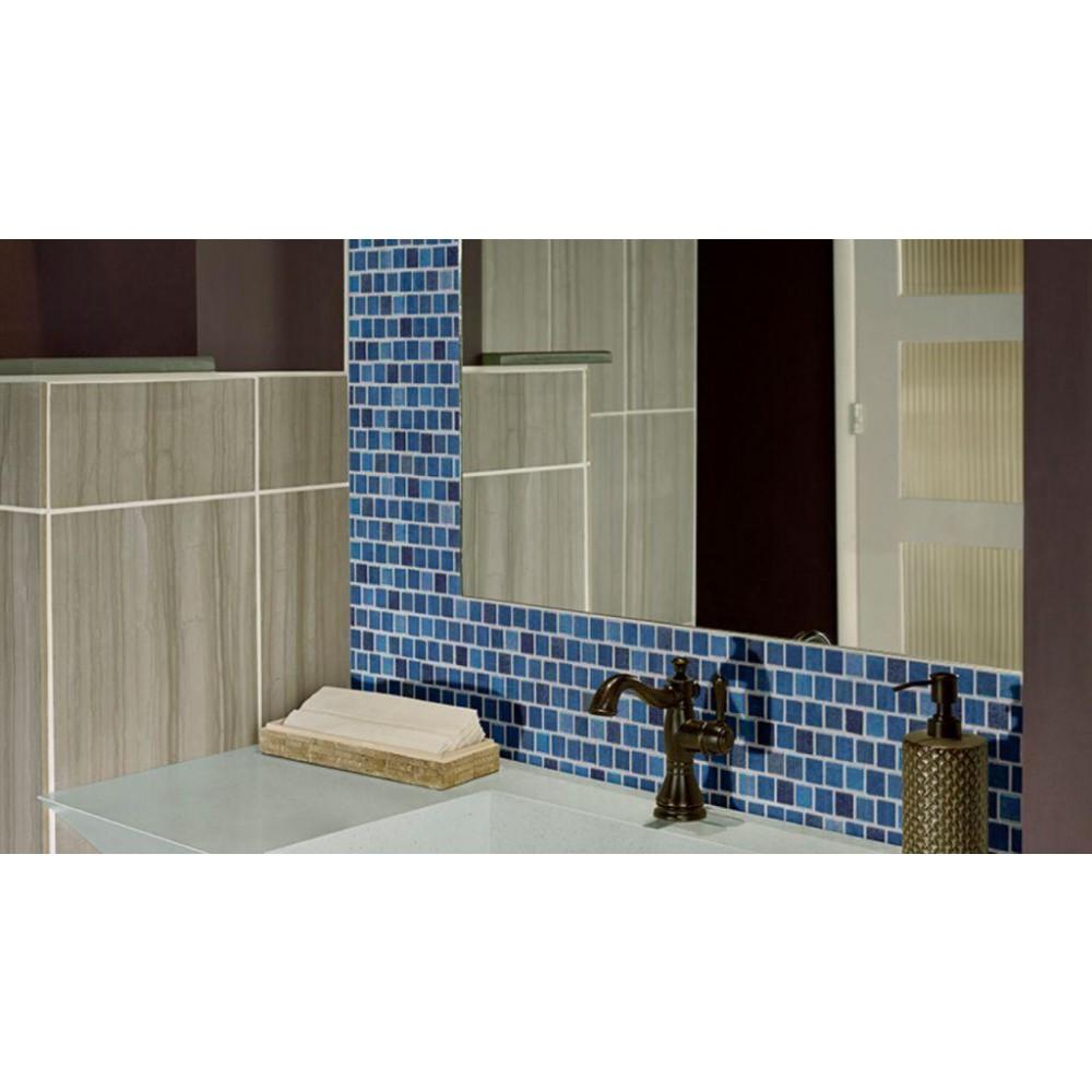 Hawaiian Blue 1x1 Staggered Glass Mosaic Tilesbay Com