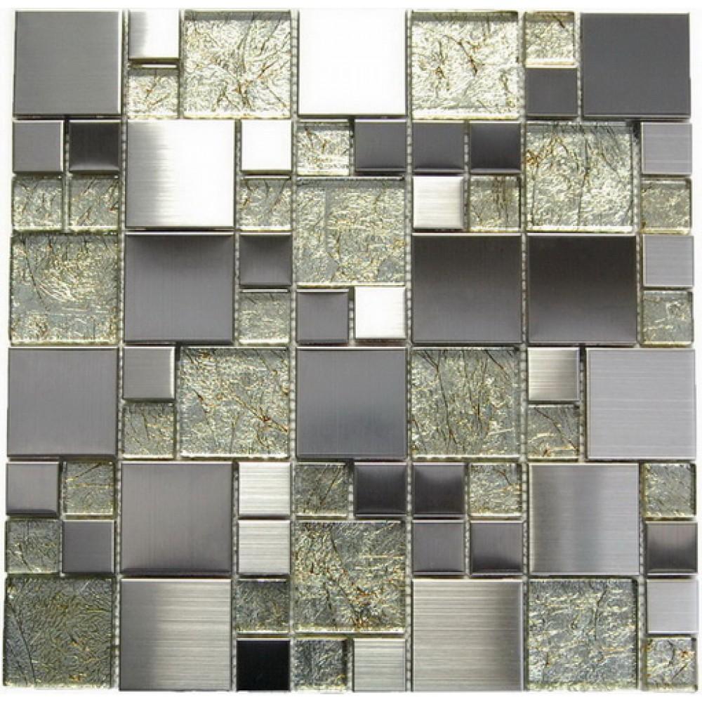Stainless Steel + Golden Glass Mix Mosaic