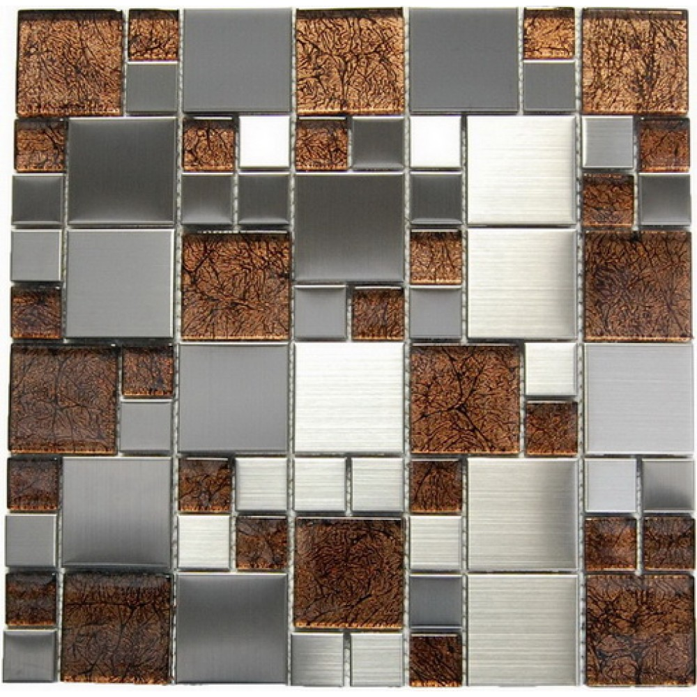 Magic Steel and Marble Glass 12x12 Blend