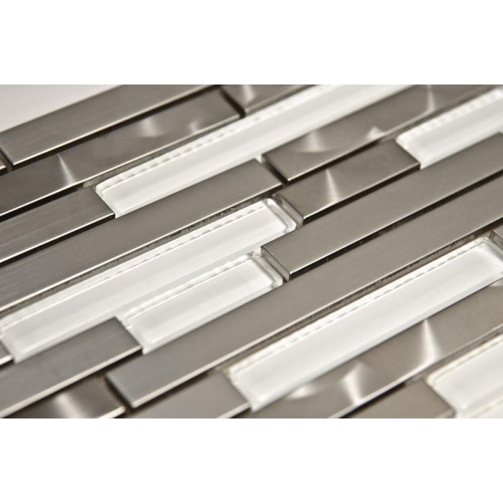 Stainless Steel LW Glass Mix 12x12 Interlock Mosaic