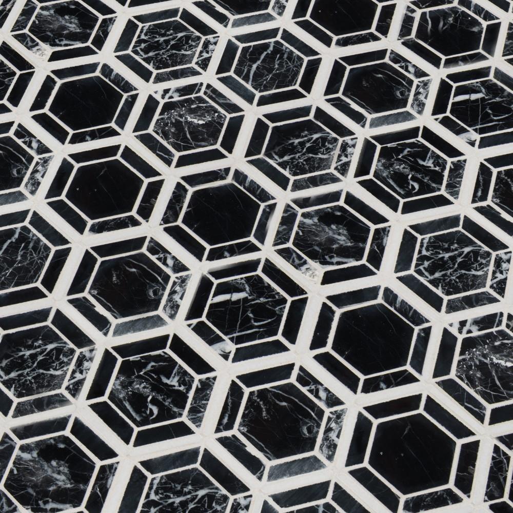 Hexagono Nero Pattern Polished Marble Mosaic