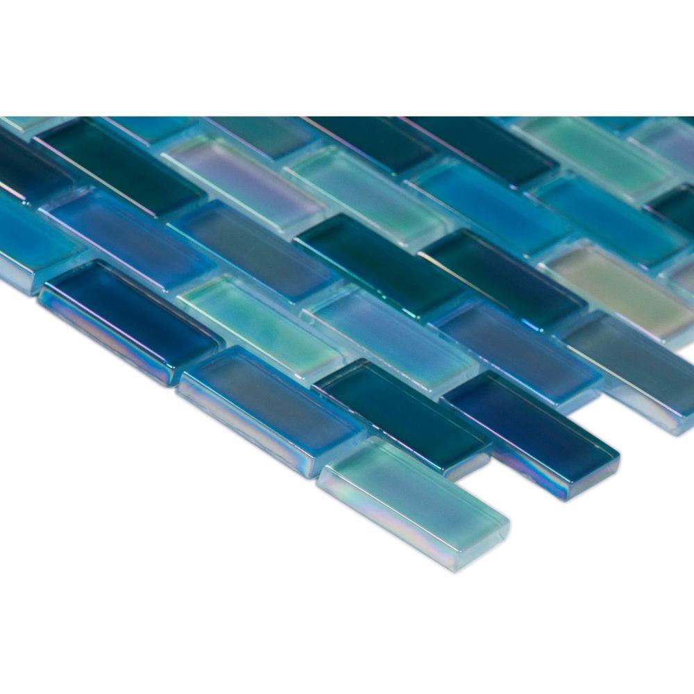 Iridescent Blue Blend 1x2 Glass Tile