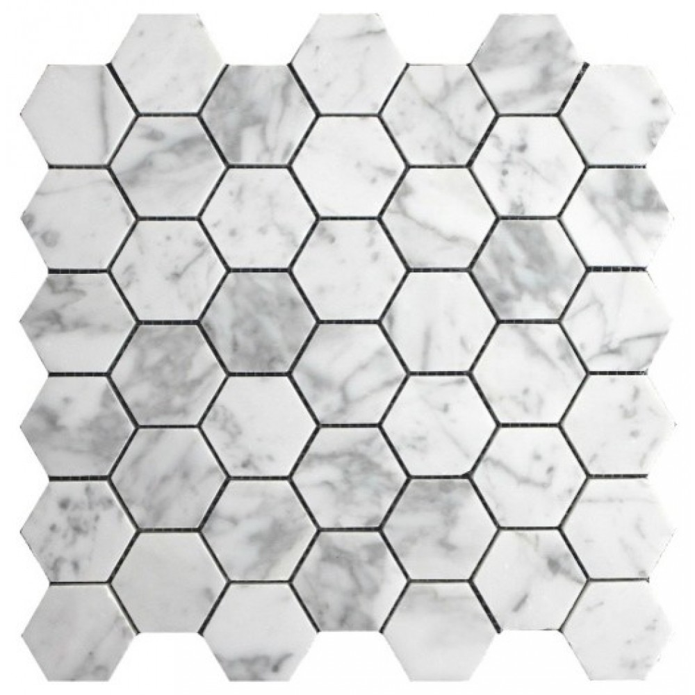 "Italian Carrara White 2"" Hexagon Honed Mosaic"