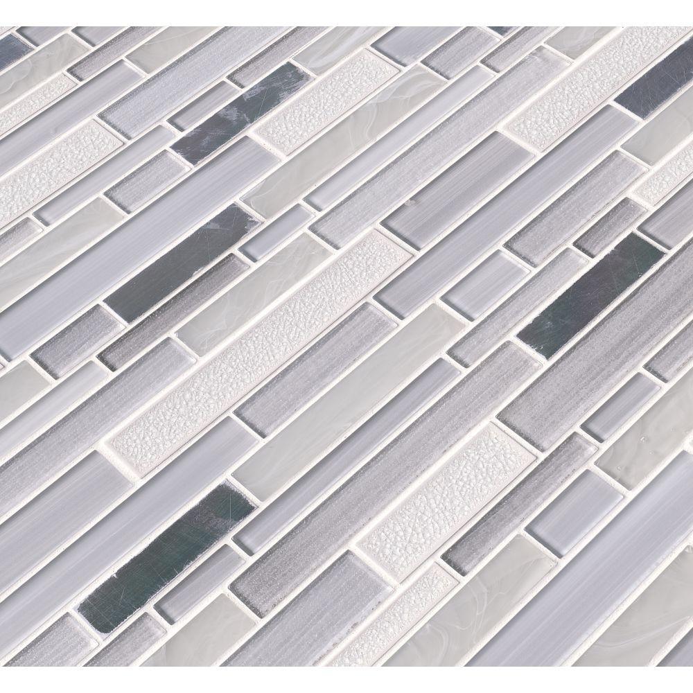 Krystal Interlocking Pattern Glass Metal Mosaic