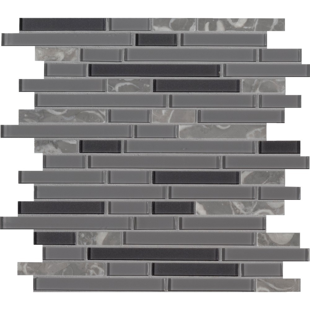 Lorena Grigio Interlocking Pattern Glass Stone Mosaic