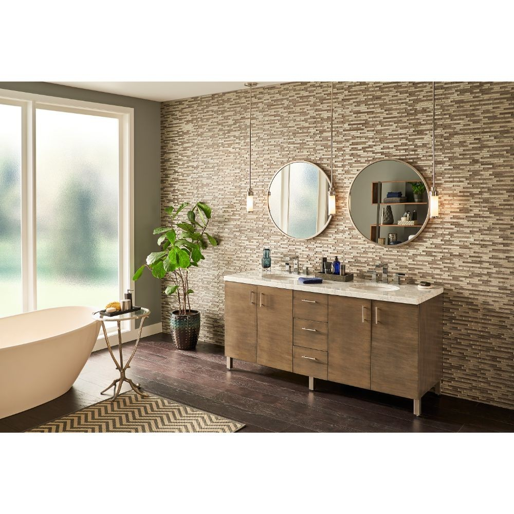 Luxe Interlocking 11.81X11.81X8 mm Glass Mosaic Tile
