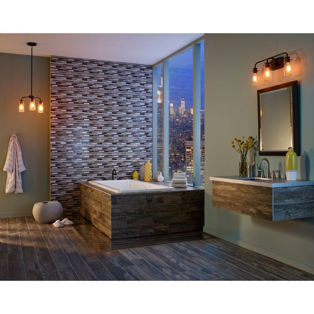 Madison Avenue Interlocking Pattern Glass Metal Mosaic