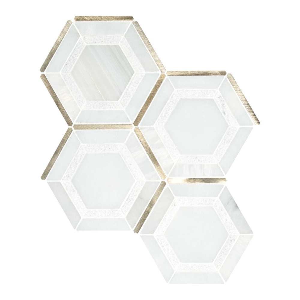 Medici Gold Geometric Pattern Hexagon Mosaic Tile