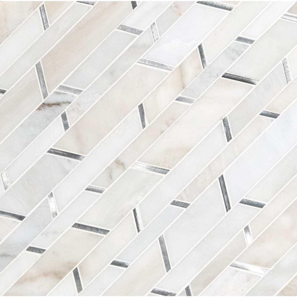 Metro Silver Geometric Pattern Interlocking Mosaic Tile