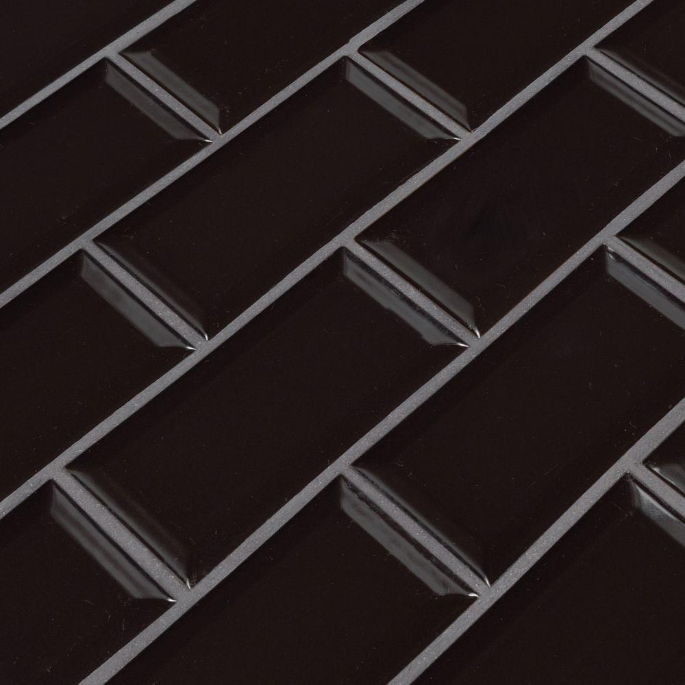 Midnight Black 2x4 Glossy Bevel Ceramic Subway Tile