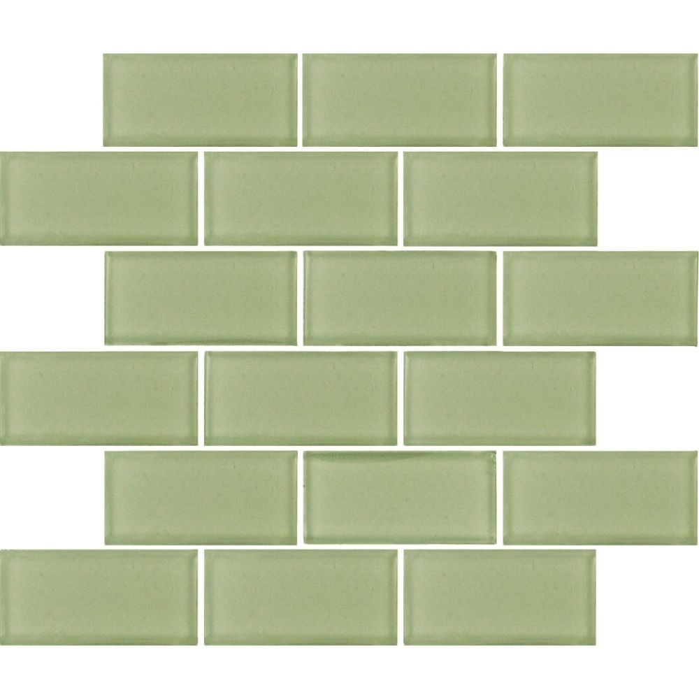 Mint Green 2x4 Subway Glass Mosaic