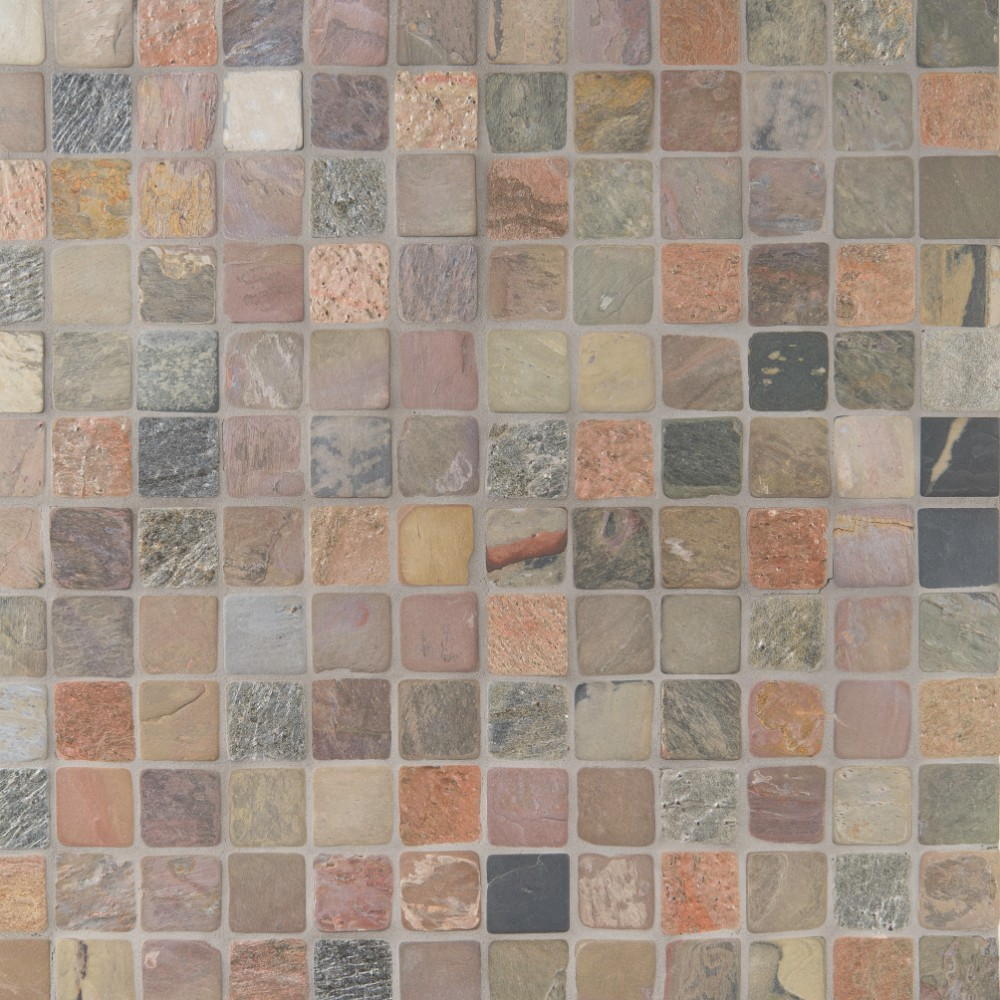 Mixed Slate 2x2 Mosaic Tumbled Backsplash Tile