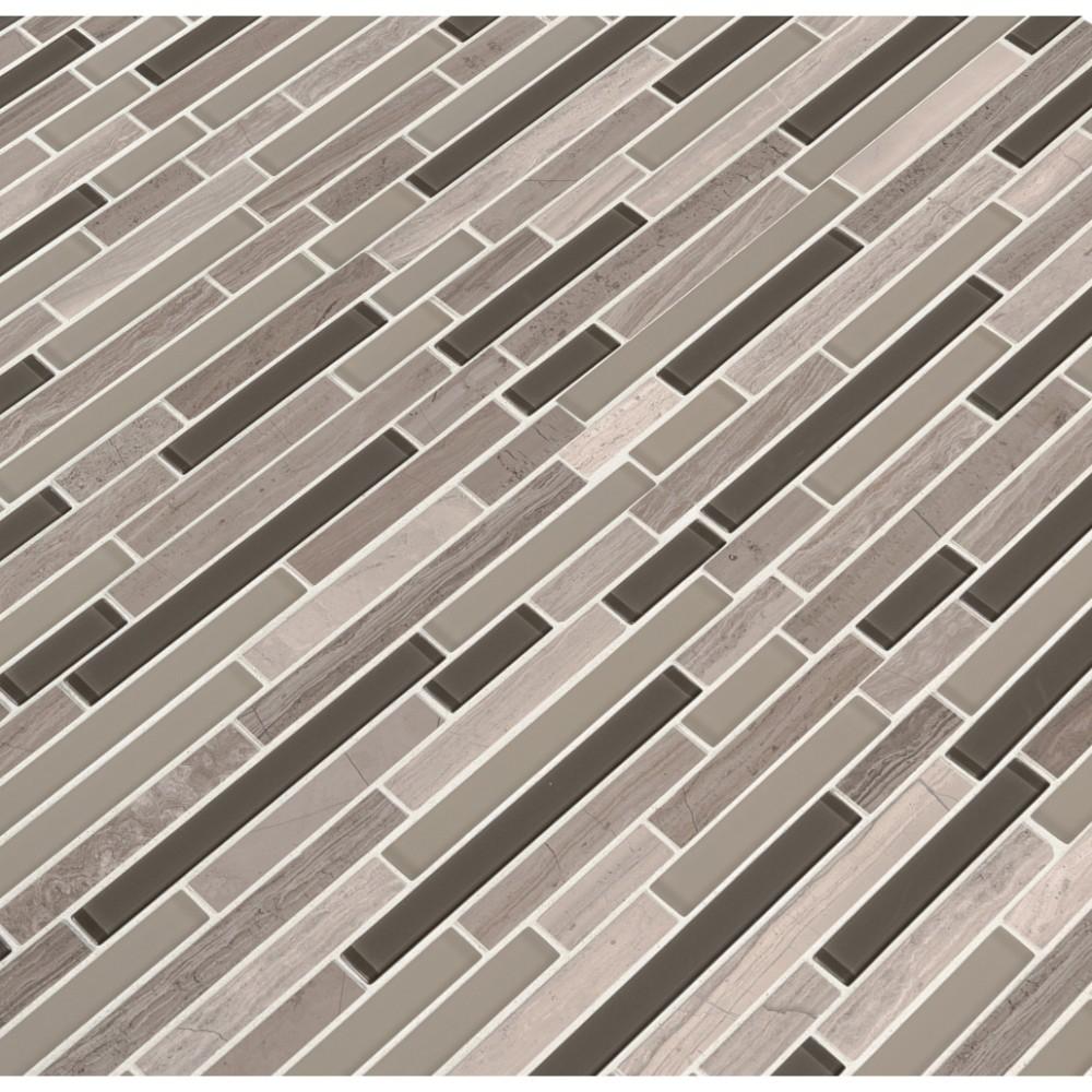 Modello Grigio Interlocking Pattern Glass Stone Mosaic