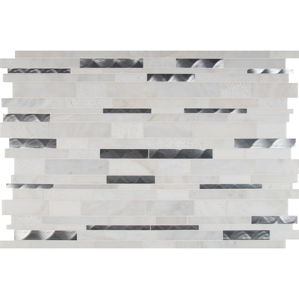 Moderno Blanco 12x18 Interlocking Pattern Mosaic
