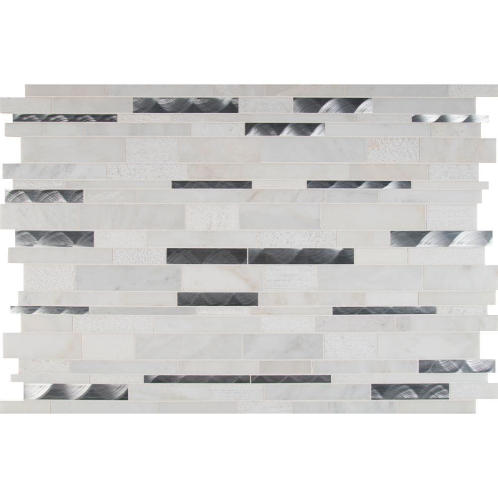 Moderno Blanco 12x18 Interlocking Pattern Mosaic