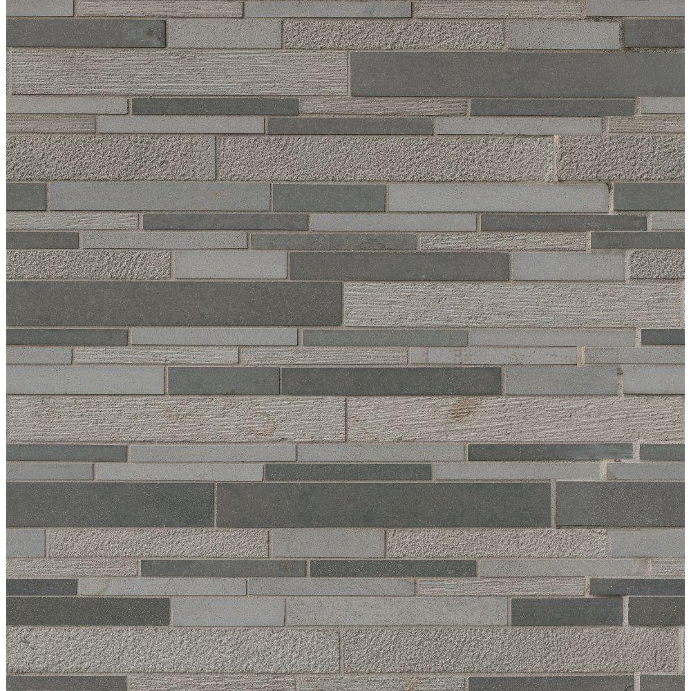 Mystic Gray Interlocking Mixed Finish Mosaic