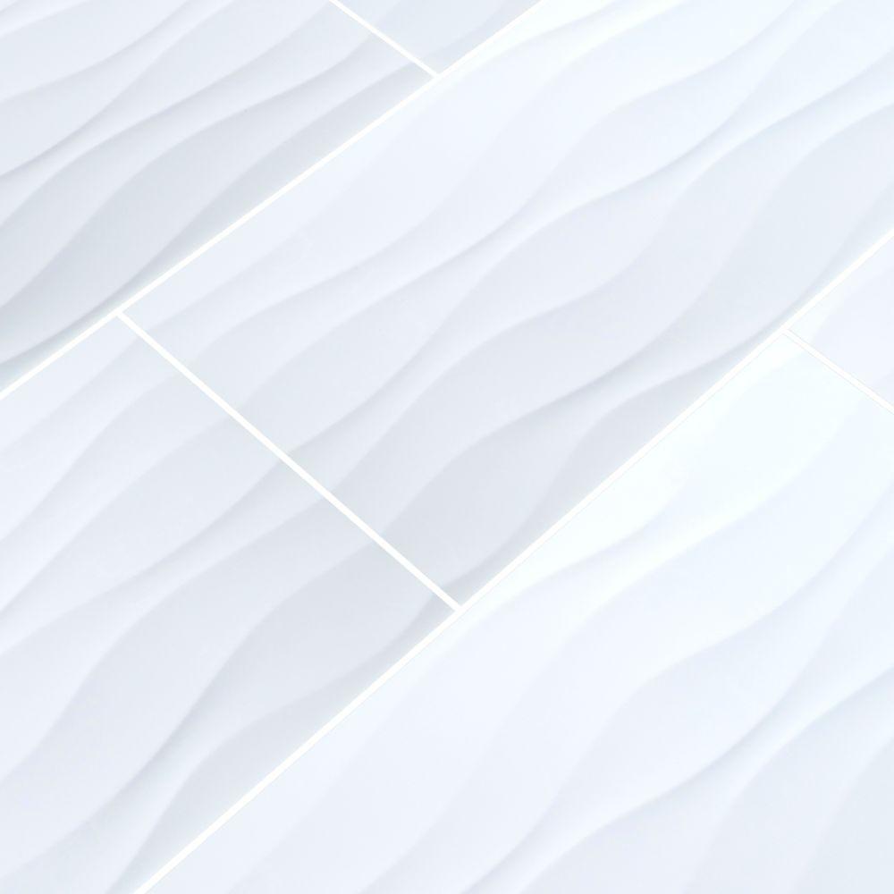 Onda Blanco 12x24 Glazed Ceramic Wall Tile Tilesbay Com