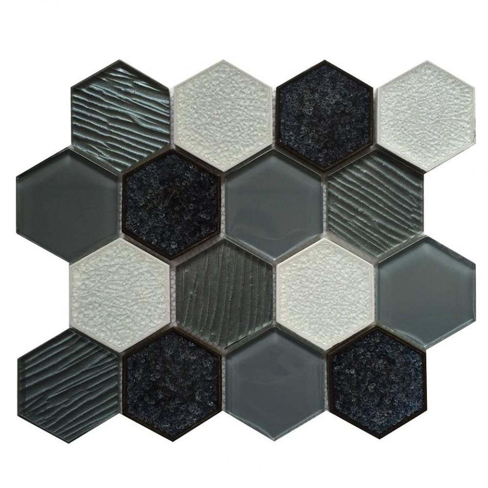 Palladian Grey 3x3 Hexagon Interlocking Mosaic