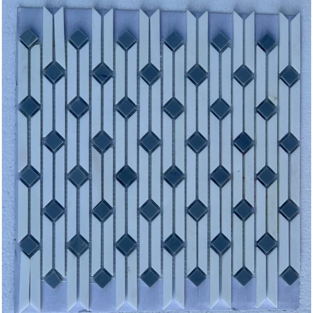 Pentelikon White With Lingbi Blue Stone Waterjet Mosaic